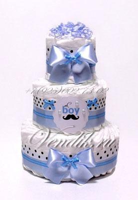 """Торт из памперсов для новорожденного мальчика """"Джентельмен"""""""