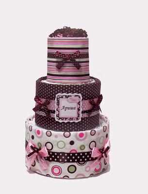 Торт из подгузников и пелёнок - подарок на рождение
