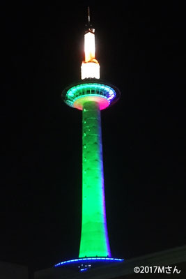 京都タワーライトアップ(2017年11月15日の七五三と着物の日にちなんだイベント)兵庫県Mさん