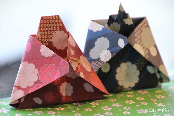 折り紙のおだいりさまとおひなさま(嵐山にて)