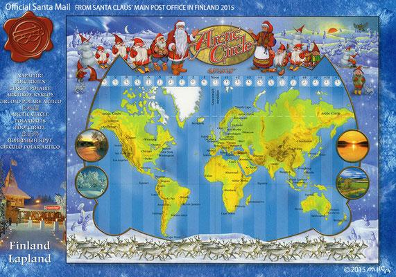 サンタの世界地図/フィンランドサンタ郵便局オリジナルポストカード2015②(日本フィンランドサンタクロース協会経由)