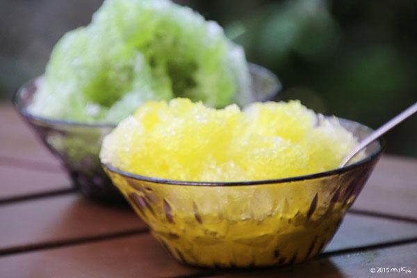 レモンと抹茶のかき氷
