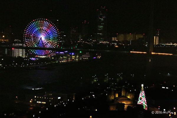 世界一の光のツリーと海遊館の夜景