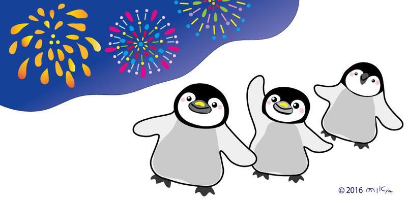 花火大会のペンギンさん