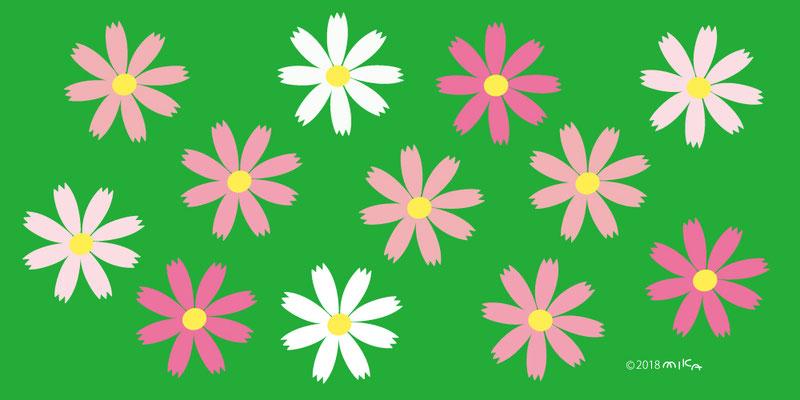 コスモスの花のデザイン(背景みどり)横長