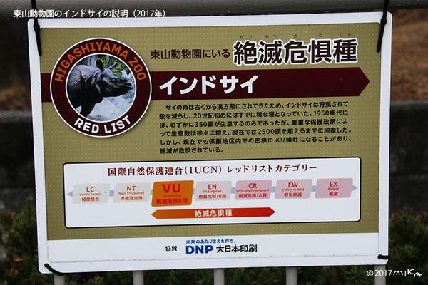 東山動物園のインドサイの説明②