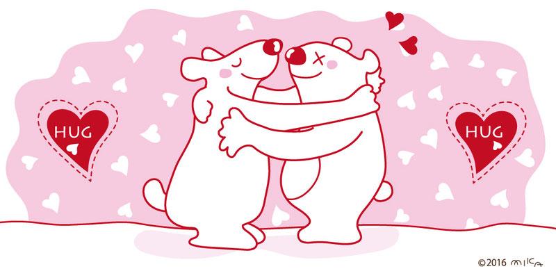 バレンタインのしろくま(横長)