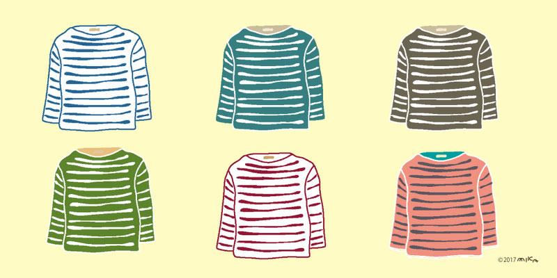秋のコーディネート(ロングTシャツ6枚)