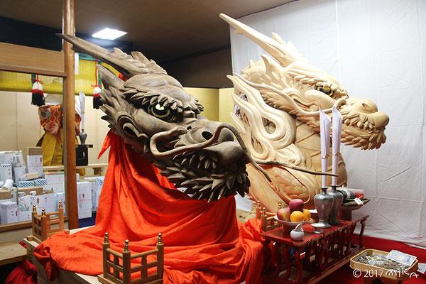 大船鉾の木彫りの巨大な龍頭(後祭宵山)