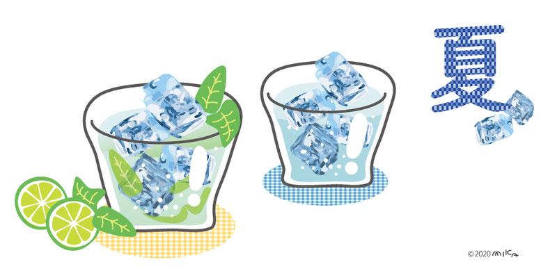 夏のミント水と氷水