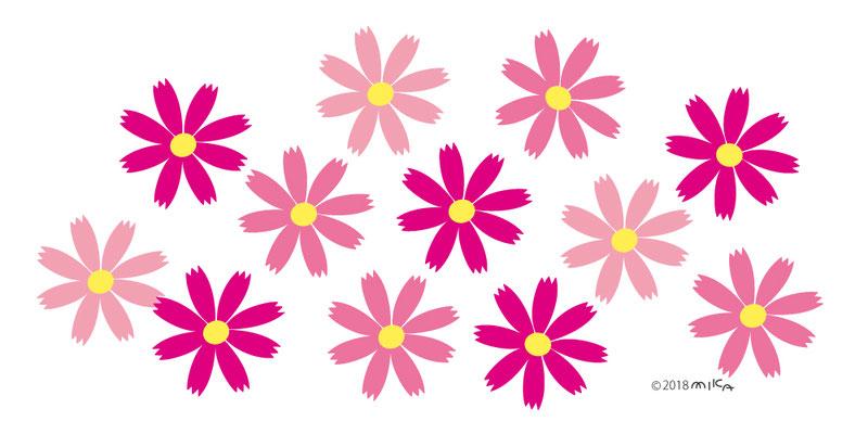 コスモスの花のデザイン(背景白)