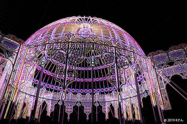 光の聖堂(カッサアルモニカ)を大きく包み込む巨大なドーム(神戸ルミナリエ2019)兵庫県Kさん写真提供