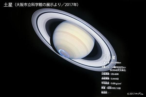 土星(写真は大阪市立科学館の展示より/2017年)