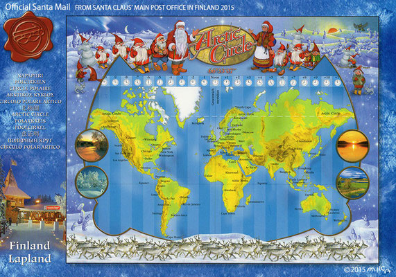 サンタの世界地図/フィンランドサンタ郵便局オリジナルポストカード2015(日本・フィンランドサンタクロース協会経由)