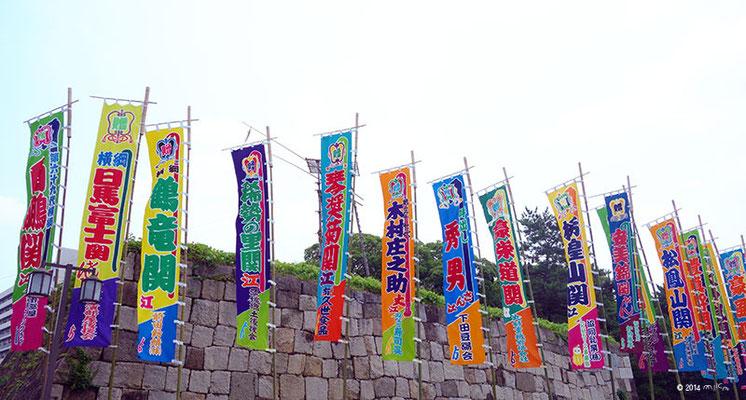 やぐらや力士名の入った幟(のぼり)大相撲名古屋場所