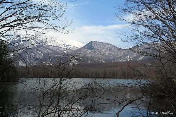 古池と黒姫山4月(長野県)