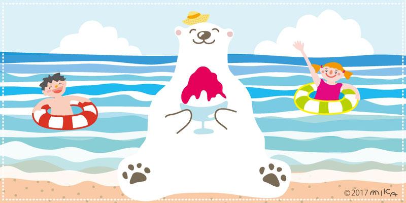 しろくま海辺でかき氷(泳ぐ子どもたち)