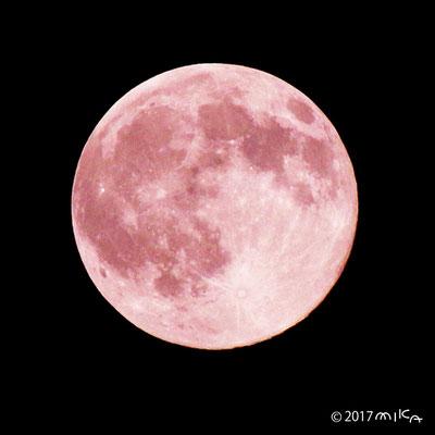 ストロベリームーンのイメージ画像(実際の月とは異なります)