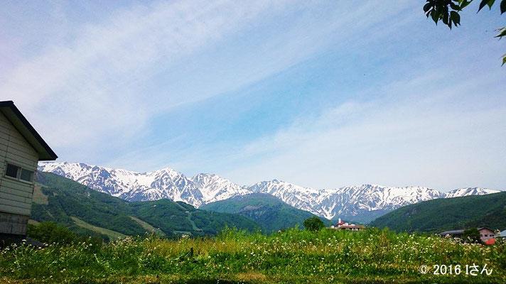 安曇野より残雪のアルプス(6月ごろ)