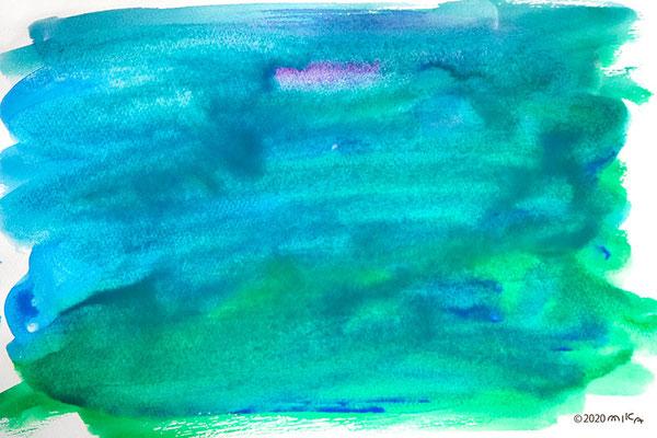 たっぷりの水を使って、背景の色を塗る。