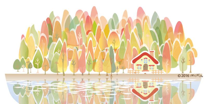 湖畔の紅葉(赤い屋根の家)