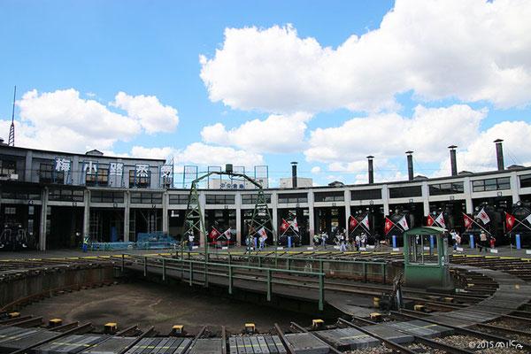 梅小路蒸気機関車館(さよなら梅小路)転車台と全景(2015年8月27日)