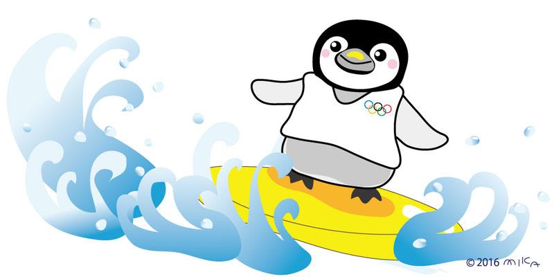 サーフィンするオリンピックのペンギン(横長)
