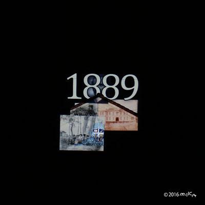 1889年創立(関西学院大学時計台プロジェクションマッピング2016年より)