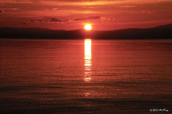 琵琶湖の夕陽(9月)