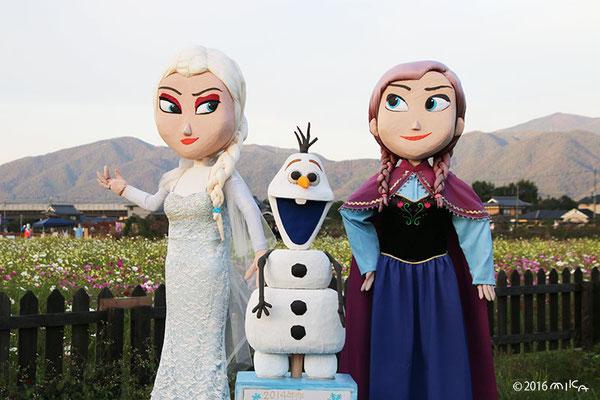 アナと雪の女王のかかし(亀岡夢コスモス園2016年秋)
