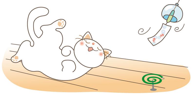 夏やすみだにゃ~(ねこと風鈴)