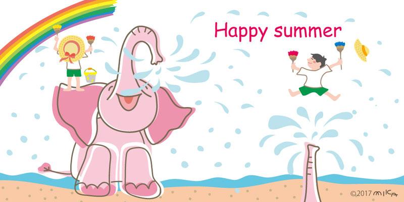 HAPPY SUMMER(ぞうのシャワーと虹を描く子どもたち)