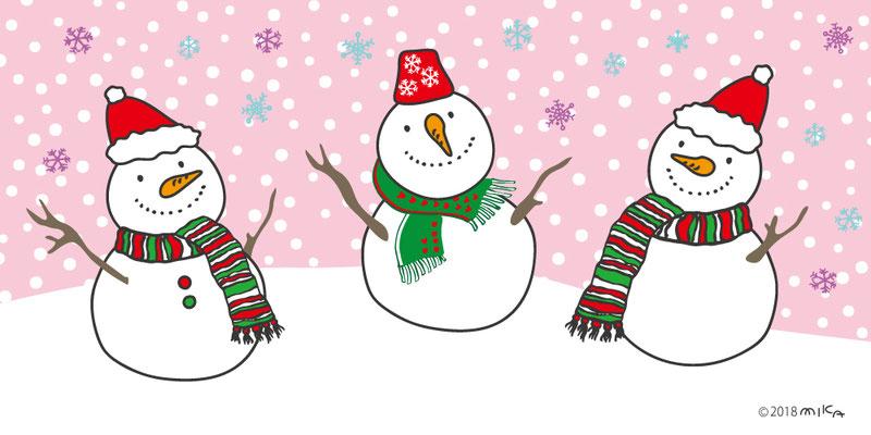 クリスマスの雪だるまたち