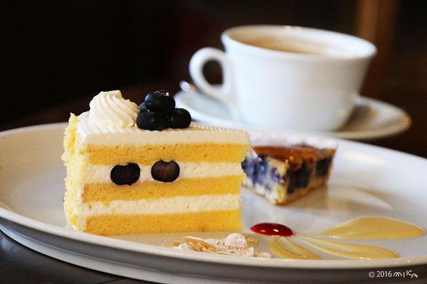 ケーキ二種のケーキセット