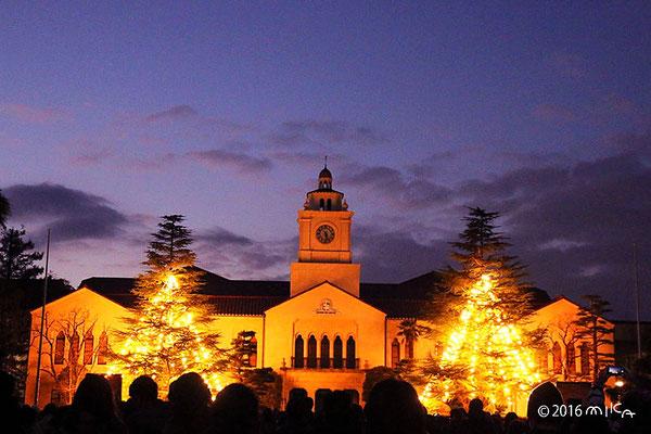 夕暮れの関西学院大学とクリスマスツリー