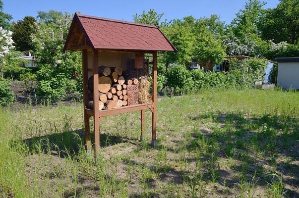 ...auch das Insektenhotel hat einen optimaleren Platz bekommen. Foto: Sandra Borchers