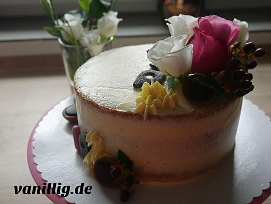 torte, naked cake, torte mit blumen
