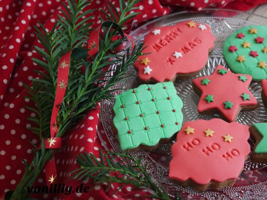 Gingerbread Plätzchen mit Fondant dekorieren