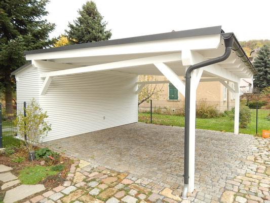 Pultdach Carport mit Geräteraum
