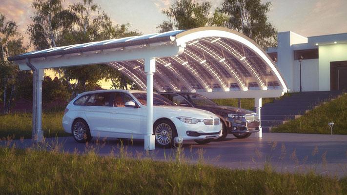 Solarglas Bogendach Carport perfekt angepasst