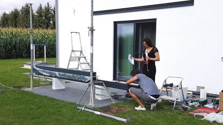 Erstellen Sie nun den Ablaufstutzen für die Regenrinne von Terrassendach