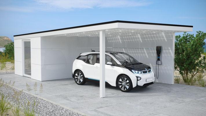 Solarcarport mit Geräteraum und BMW I3