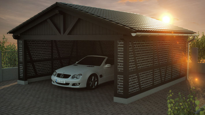 carport und garage mit fachwerk solarterrassen carportwerk gmbh. Black Bedroom Furniture Sets. Home Design Ideas