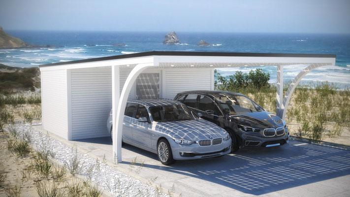 Flachdach Carport mit Rundbogen und Geräteraum