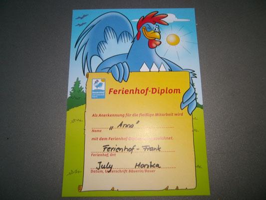 """jedes Kind erhält ein """"Diplom"""" von unseren Bauernhof"""