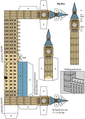 Plantilla recortable parlamento británico Big Ben