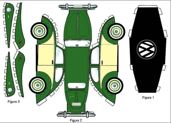 Plantilla recortable coche verde