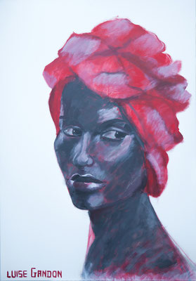 Acryl auf Leinwand – 100 x 70 cm   African beauty (red)