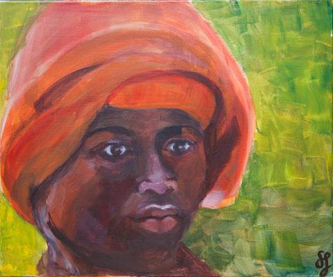 Acryl auf Leinwand – 60 x 50 cm   Junge aus Kongo