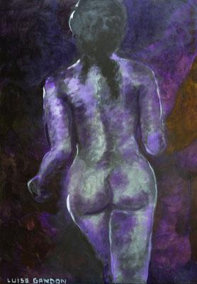 Acryl auf Leinwand - 100/70 cm - Damen-Nacktlauf (lila)